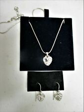 Swarovski Necklace Earring Set Heart Signed Swan Small Pave Set Dangle Pierced
