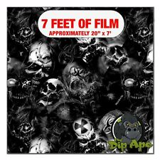 Hydrographic Film Bio Death Skulls Transparent 7 X 20 Hydro Dip Dipping