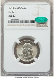 1944-S 25C MS 67 NGC CAC DDO FS-101 Variety Doubled Die Washington