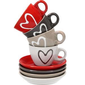 Espressotasse mit Untertasse Herz aus Keramik   4er Set   5 cm