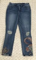 So Slimming by Chico's  Girlfriend  Ankle Paisley Embroidered Jeans Size 1