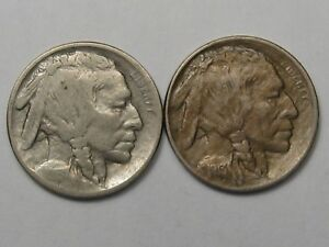 2 - 1913 (T-2) US Buffalo Nickels (AU w/ Scratch).  #39
