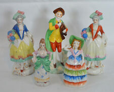 Lot of 5 Made in Japan Ceramic Bright Colorful Colonial Victorian Figurines