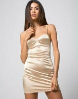 MOTEL ROCKS  Leta Bodycon Dress in Gold Satin  (MR51)