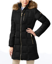 NWT MICHAEL KORS Faux Fur Trim  Women Puffer Coat Hooded Black - L