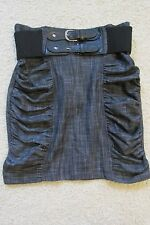 New Junior's Styles For Less Bella Denim/Jean Pencil Ruffle Skirt w/Belt Medium