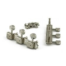 Kluson 3 On A Plate Tuners Nickel - Oval Metal Button - Single Line Kluson Stamp