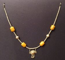 Yemen Necklace of Metal & Faux Amber Beads (20+ years) Jewelry
