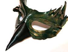 Jade Uccello Maschera Pelle a Mano VENEZIANO Masquerade VERDE / ORO