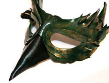 Jade Bird Mask Handmade Leather Venetian Masquerade green/gold