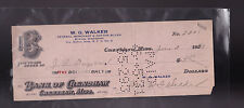 Bank of Crenshaw Mississippi Used Bank Check 1921 WG Walker Buxton Orange