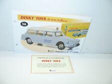 1 fiche + certif. DINKY TOYS ATLAS repro ref 556, Citroen ID 19 ambulance