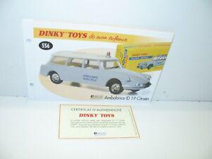1 Sheet + Certif. Dinky Toys Atlas Repro Ref 556, Citroen Id 19 Ambulance