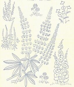 """Vintage Visage iron on embroidery transfer 1930s style flowers,lupins 11 x 8"""""""