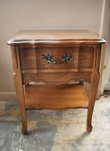 Vintage French Provincial Style Bedroom Nightstand, End Side Table