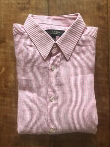 Gieves & Hawkes of Savile Row Pink and White Striped Linen Shirt