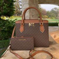 NWT Michael Kors Signature Mott Satchel Handbag/Wallet Brown 35T0G0XS7B