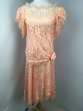 VTG 80s Prom Peach Lace PUFFY BUBBLE SLEEVE Party UNION MADE Evening Dress Gown