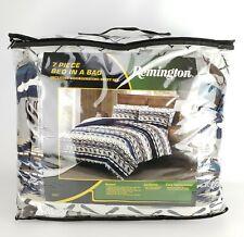 Remington 7 Piece Queen Comforter Sheet Set Reversible Moose Salmon Canoe Blue