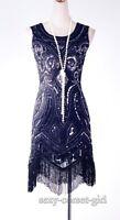 1920'S Art deco Sequin Tassel Dress Black Great Gatsby Size X -4XL SCG 4003