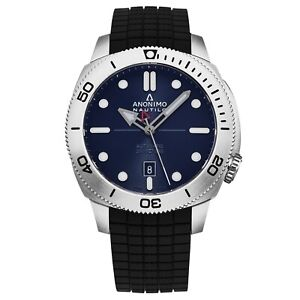Anonimo Mens Nautilo Blue Dial Rubber Strap swiss Automatic Watch AM100101003A11