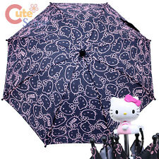 Sarino Hello Kitty Umbrella  Black Pink Face All Over with Figure Handle