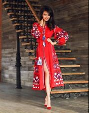 Embroidered red dress boho with ornamets ukrainian ethnic vyshyvanka. All sizes