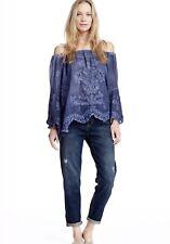 Saffire Women's 100% Cotton Embroidered Off-Shoulder Blue Peasant Blouse Size L