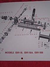 1950's FOUR WHEEL DRIVE AUTO Co EAGLE EB9-18, EB9-18A, EBU9-18B WINCH PARTS LIST