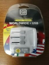 GO TRAVEL Worldwide Adaptor with Twin USB ports. Sealed and new