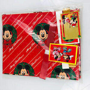 Vintage 90s Disney Mickey for Kids Christmas  Gift Wrap Paper sheets New 3