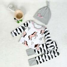3PCS Outfits Baby Girl Boy Stripe Horse T-shirt Tops+Pants+Hat Kids Clothes