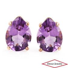 Estate Amethyst 14K Yellow Gold Pear Small Stud Earrings NR