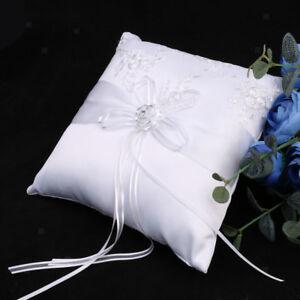 20 x 20cm White Wedding Ceremony Satin Flower Lace   Pillow Cushion