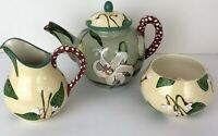 Droll Designs Tea Pot Creamer Sugar No Lid Floral Polka Dot