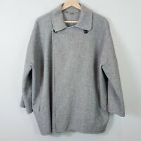 [ ZARA  ] Womens Grey Wool Blend Jacket Coat Oversized | Size L or AU 14 / US 10