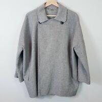 [ ZARA  ] Womens Grey Wool Blend Jacket Coat Oversized | Size L or AU 14 / US 10