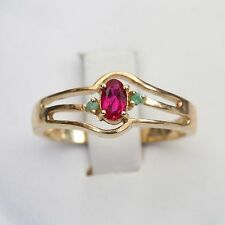 ESTATE  SOLID 14K GOLD & RUBY w EMERALD ACCENTS RING, 2.7 gms., size 7, EXC