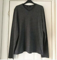 Robert Barakett Mens Grey V Neck Long Sleeve Soft Cotton Jersey T-Shirt Top Sz M
