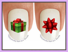 Nail Art X825 CHRISTMAS Holiday GREEN RED Bow Gift WaterSlide Nail Decal Transfr