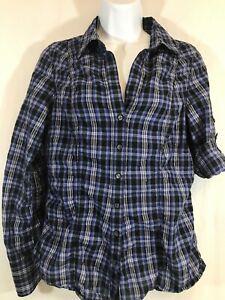 Express Portofino Women's Long Sleeve Button Front Blue Plaid Shirt Blouse Sz S