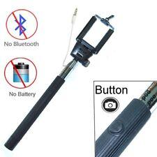 Black Extendable Selfie Wired Stick Holder Remote Shutter Monopod for Smartphone