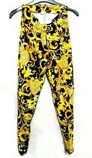 DEKER's Paris Gold & Black baroque print leggings stirrup pants