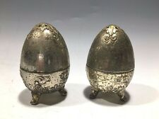Vintage Metal Egg Shaped Footed Salt And Pepper Shakers