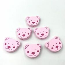 25pcs Bear Wooden Beads Baby Pacifier Clip Spacer Beading Light pink 24mm
