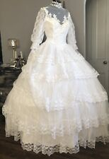 Vtg Union Made Wedding Dress Victorian Lace Tiered Full Hoop! Ruffle Arms~ Sz S*