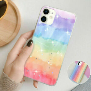 Case for iPhone 12 11 Pro Max 8 7 SE X XR Glitter Rainbow Cute Back Phone Cover