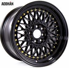Aodhan Ah05 15X8 4X100/114.3 Et20 Black Rims Fits Civic Miata Integra Wide Body