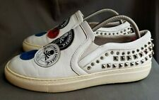 Men's White Leather PHILLIP PLEIN Fight Club Studded Sneakers Sz-42 EU 9-US