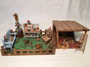 Miniature Dollhouse Diorama Room Box Garden Farm Yard Stable Artist Made